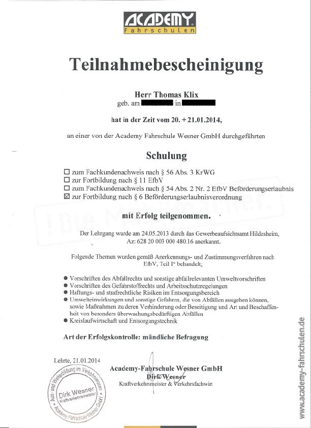 Klix-Recycling Zertifikat 2014
