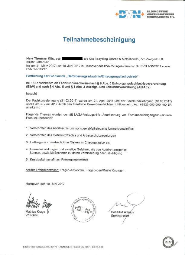 Klix-Recycling Zertifikat 2017